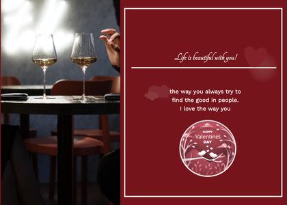 valentine card 350 glass wine