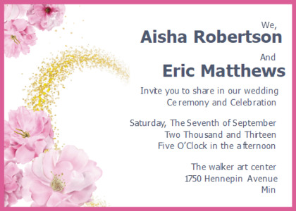 wedding card 10 text floraldesign