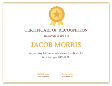 certificate 2 online  certificate of excellence template