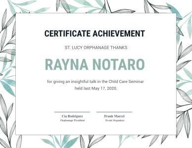certificate 4 outstanding achievement award template