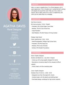 resume 20 floral designer  resume template